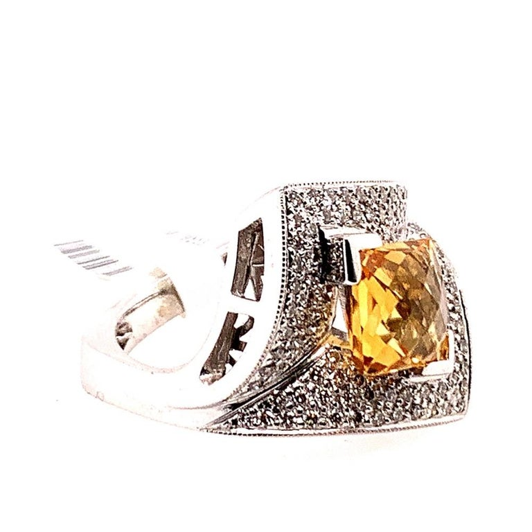 Modern Gold 3.50 Carat Natural Square Citrine & Diamond Cocktail Ring Gem Stone In Good Condition For Sale In Los Angeles, CA