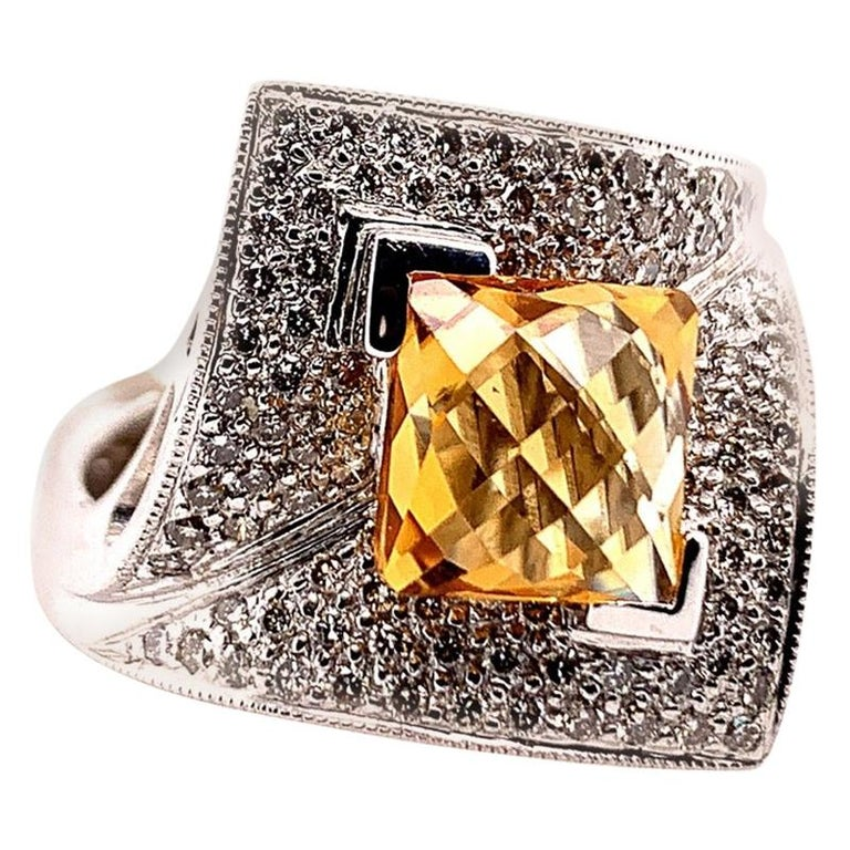 Stunning Modern 14k White Gold 3.50 Carat Natural Square Citrine & Diamond Cocktail Ring.   The centerstone is a 2.65 carat natural citrine quartz and the total weight of the natural colorless diamonds are 0.85 carats.  The ring weighs 8.9 grams and