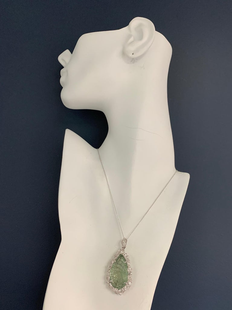 Round Cut Modern Gold 40.34 CT Natural Hand Carved Green Amethyst Quartz & Diamond Pendant For Sale