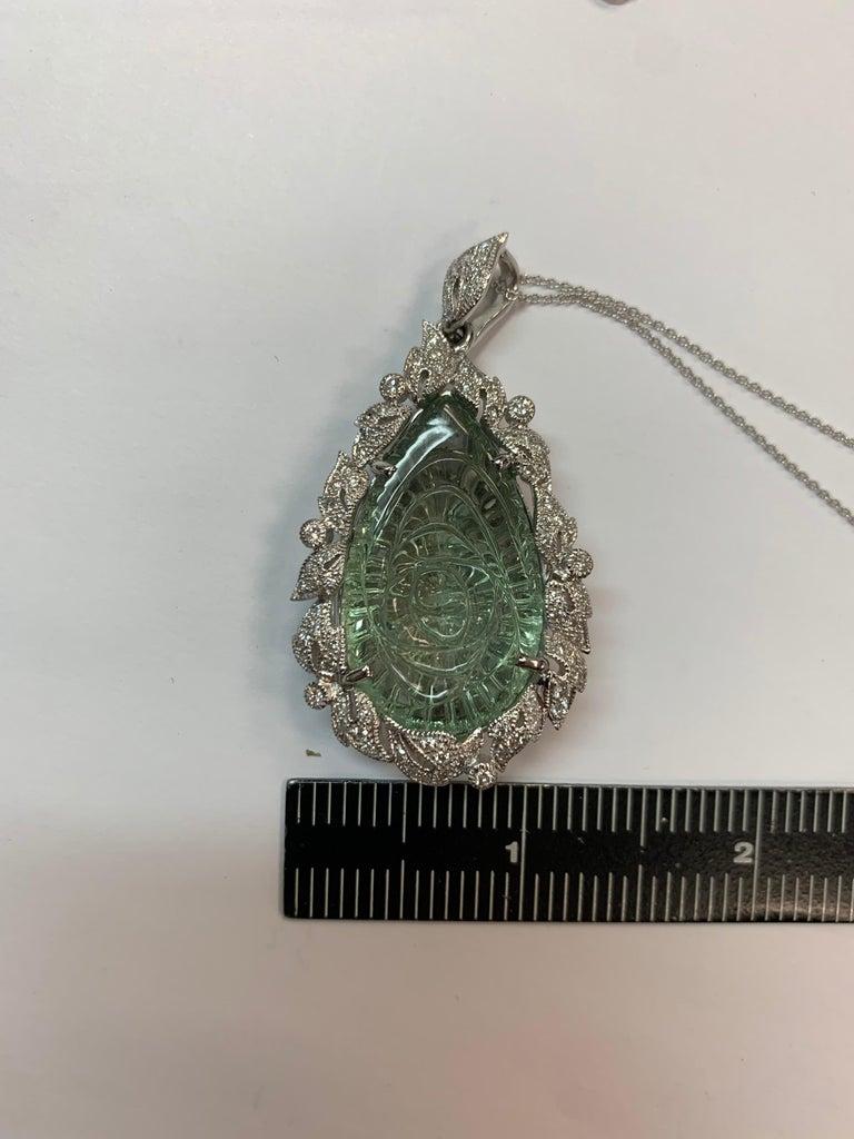 Modern Gold 40.34 CT Natural Hand Carved Green Amethyst Quartz & Diamond Pendant For Sale 2
