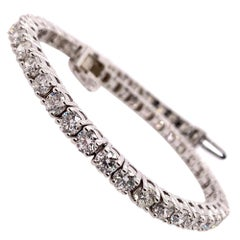 Modern Gold 6.75 Carat Natural Round Diamond Tennis Bracelet G Color VS-SI