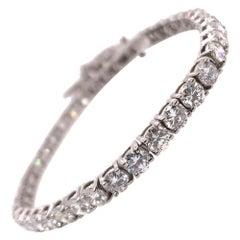 Modern Gold 8.77 Carat Natural Round Diamond Tennis Bracelet G Color VS-SI Gem