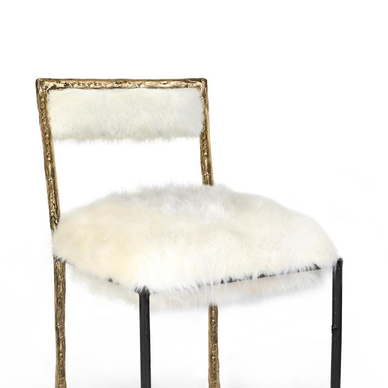 Cast Modern Gold and Black Viking Dining Chair in Brass and Synthetic Fur Cushion For Sale