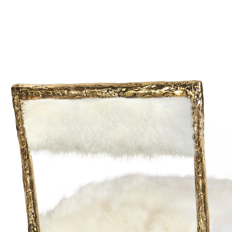 Contemporary Modern Gold and Black Viking Dining Chair in Brass and Synthetic Fur Cushion For Sale