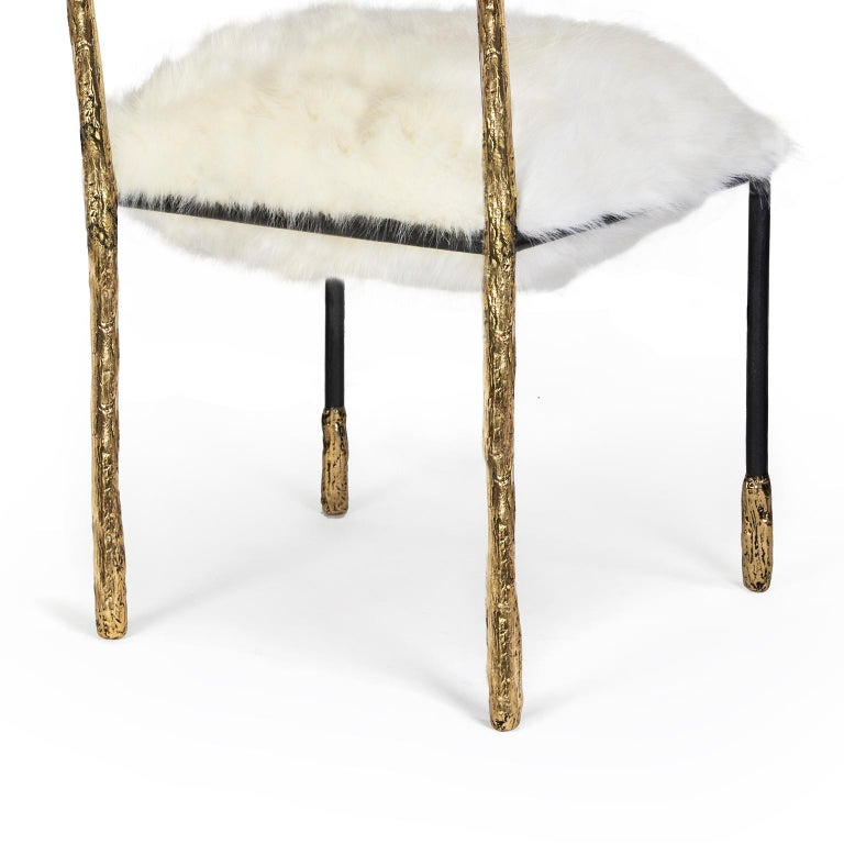Modern Gold and Black Viking Dining Chair in Brass and Synthetic Fur Cushion For Sale 1