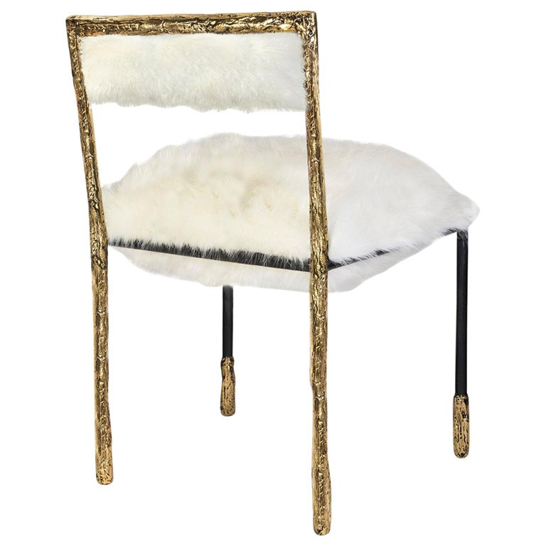 Modern Gold and Black Viking Dining Chair in Brass and Synthetic Fur Cushion For Sale
