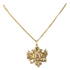 Modern Gold and Diamond Russian Eagle Pendant by Marie Betteley