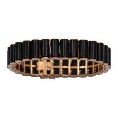 Modern Gold and Onyx Bracelet