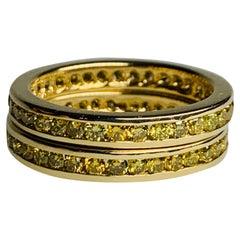 Modern Gold Band Pair 3.40 Carat Natural Intense Yellow Diamond Engagement Ring