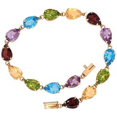 Modern Gold Bracelet Natural Pear Shape Multi-Color Quartz Gem Stone Estate
