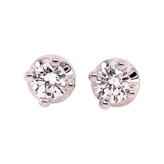Modern Gold Bulgari 1.40 Carat GIA Certified Natural D Color VS Diamond Earrings