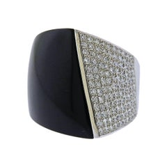 Modern Gold Diamond Onyx Ring