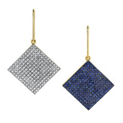 Modern Gold Earrings with Diamonds and Blue Sapphires by ARK Fine Jewelry