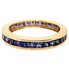 Modern Gold Eternity 2.25 Carat Natural Blue Sapphire Gem Stone Cocktail Ring