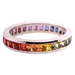 Modern Gold Eternity Band 2.69 Carat Natural Sapphire Cocktail Rainbow Gem Ring