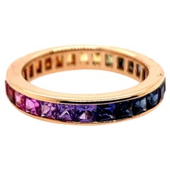 Modern Gold Eternity Band 2.84 Carat Natural Sapphire Gem Rainbow Cocktail Ring