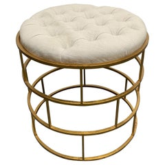 Modern Gold Gilt Tufted Stool