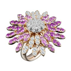Modern Gold Kinetic Flower Petal Diamond and Pink Sapphire Cocktail Ring