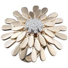 Modern Gold Kinetic Flower Petal Diamond Cocktail Ring