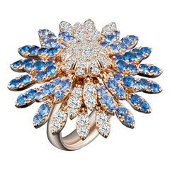 Modern Gold Kinetic Flower Petal White Diamond and Blue Sapphire Cocktail Ring