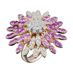 Modern Gold Kinetic Flower Petal White Diamond and Pink Sapphire Cocktail Ring