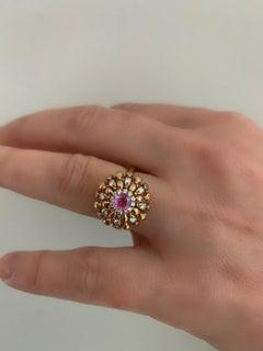 Modern Gold Kinetic Flower Twist Diamond Pink Sapphire Ring
