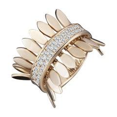 Modern Gold Kinetic Petal Diamond Cocktail Ring
