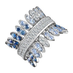 Modern Gold Kinetic Petal White Diamond and Blue Sapphire Cocktail Ring