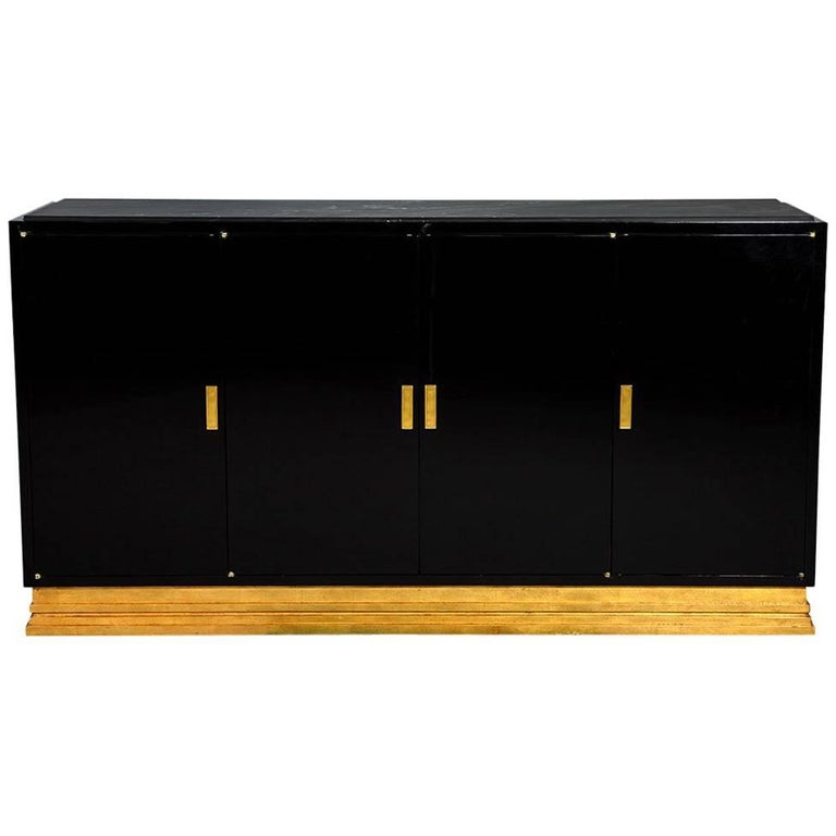 Modern Gold Leaf And Black Lacquer Buffet Console Cabinet With Stone Top For