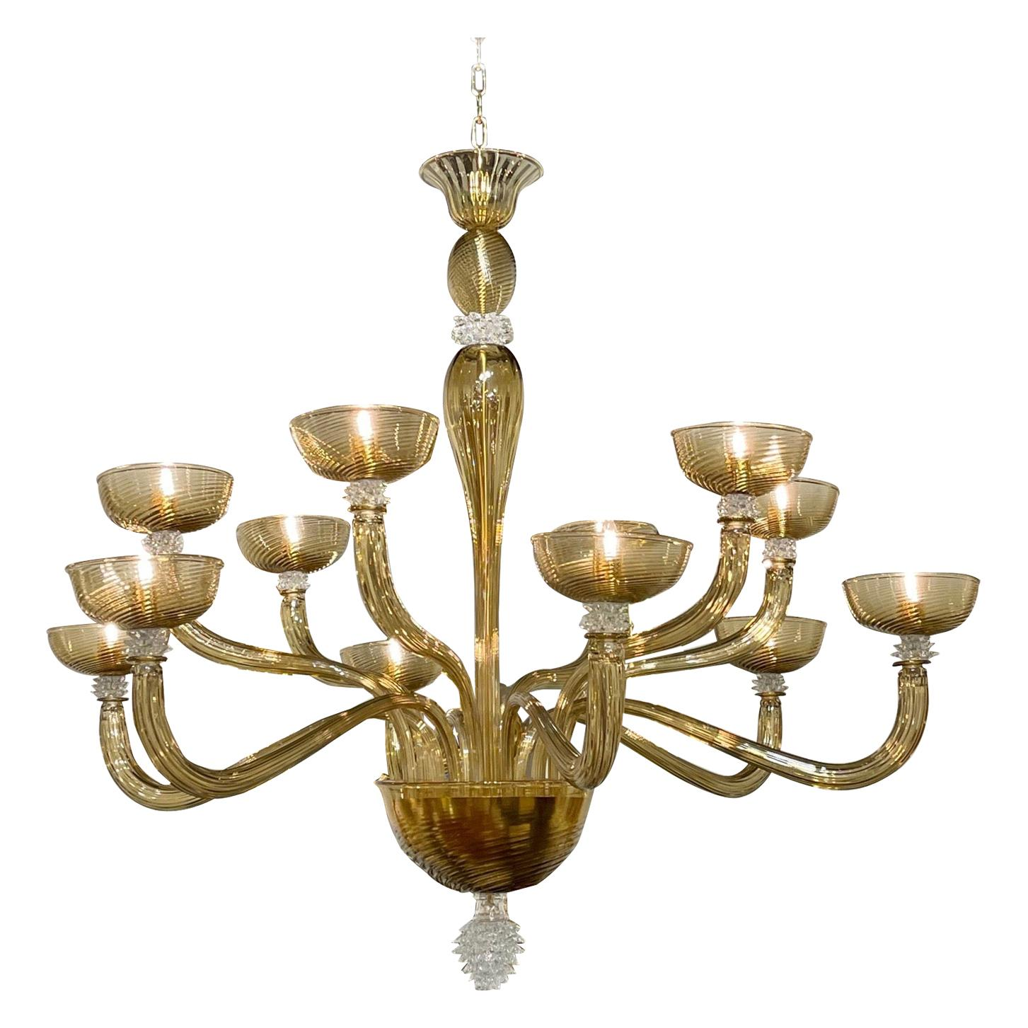 Modern Gold Murano Glass Chandelier with 12 Arms