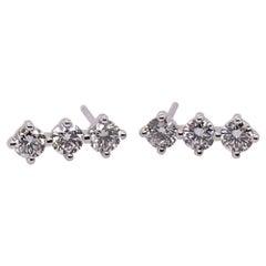 Modern Gold Natural Diamond Earrings 0.72 Carat Round Brilliant F VS Gem Stone
