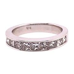 Modern Gold Ring 1.90 Carat Princess Natural Colorless Diamond Engagement Band