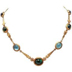 Modern Gold Tourmaline and Chrysoberyl Necklace