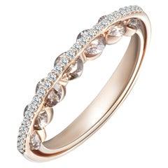 Modern Gold White and Champagne Diamond Ring, Alternative Bridal Wedding
