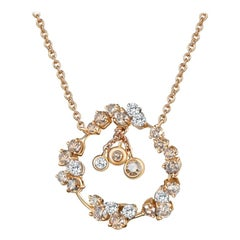 Modern Gold White and Champagne Diamond Pendant Necklace