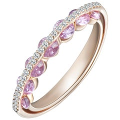 Modern Gold White Diamond and Pink Sapphire Ring, Alternative Bridal Wedding