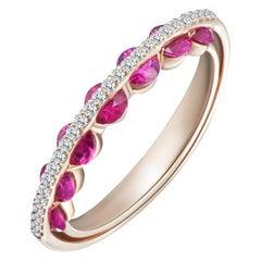 Modern Gold White Diamond and Red Ruby Ring, Alternative Bridal Wedding