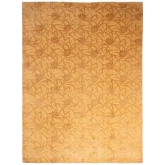 Modern Golden-Orange and Brown Wool and Silk Rug