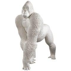 Modern Gorilla by Marcantonio, White Painted Fiberglass Resin