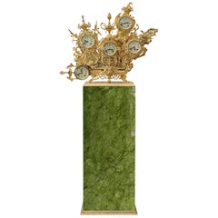 Modern Grandfather Floor Clock in Gold-Plated Brass and Green Ming Marble