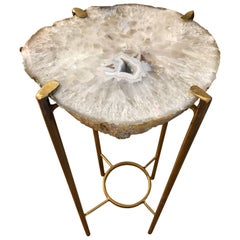 Modern Gray and White Quartz End Table with Exposed Crystal Center