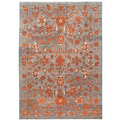Modern Gray Oushak Handmade Wool Rug