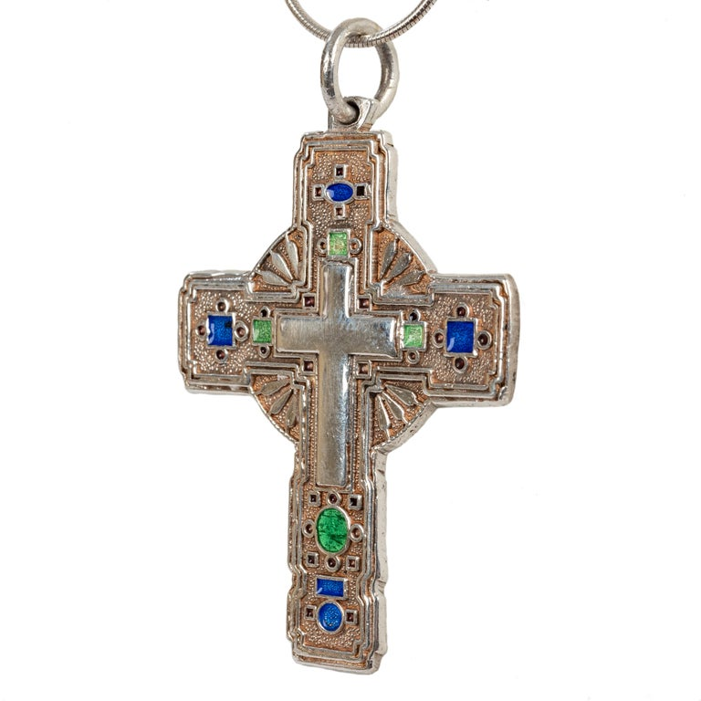 Modern Greek Orthodox Enameled Cross, 20th Century In Good Condition For Sale In Lewiston, NY
