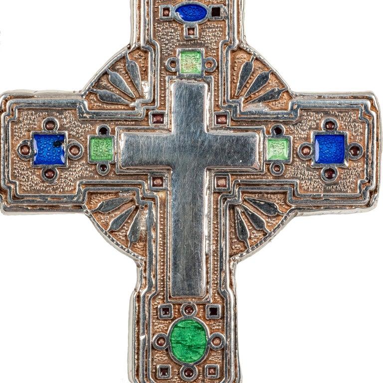 Women's or Men's Modern Greek Orthodox Enameled Cross, 20th Century For Sale