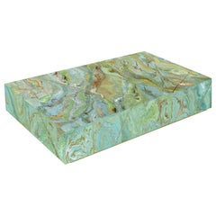 Modern Green Coffee Table Marbled Scagliola Art Decor Handmade in Italy