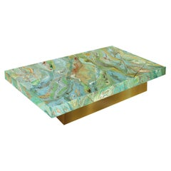 Modern Green Coffee Table Marbled Scagliola Art Decor Top Gold Leaf Wooden Base