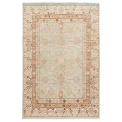 Handmade Khotan Style Rug in Beige blue Pomegranate Pattern
