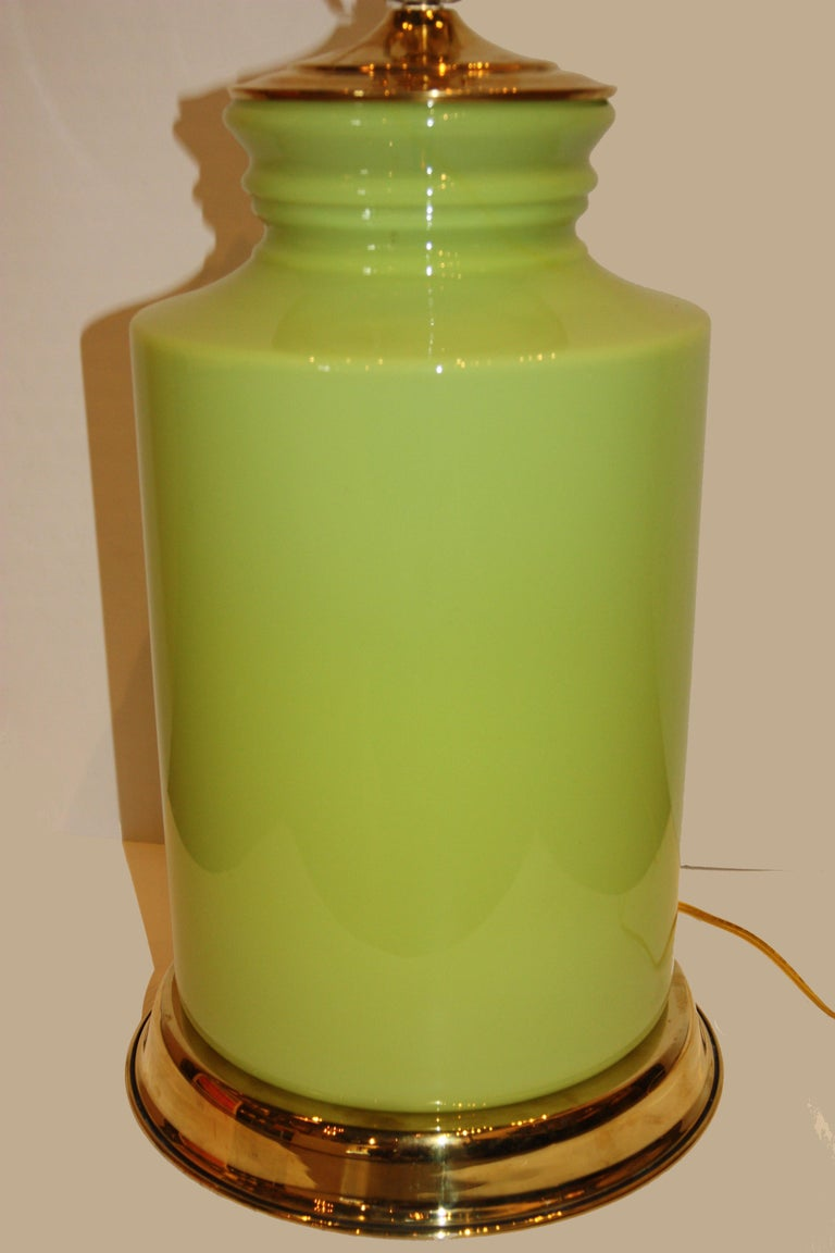 Modern Green Lamp with Brass Accents In Good Condition For Sale In San Antonio, TX