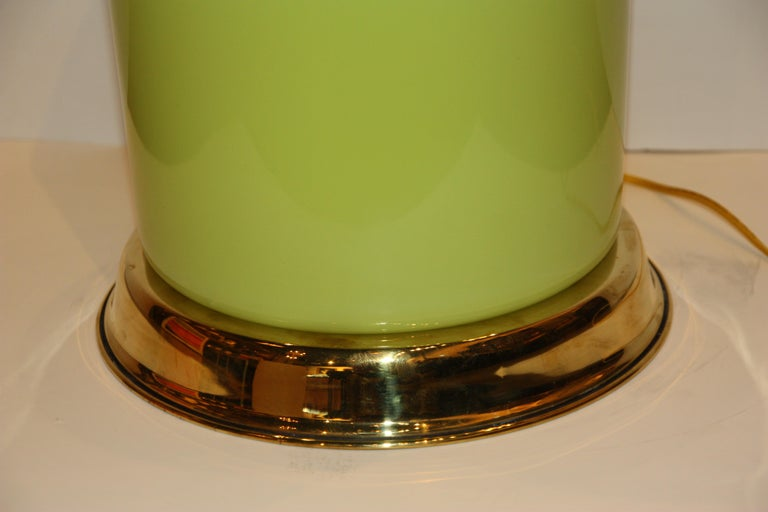 20th Century Modern Green Lamp with Brass Accents For Sale