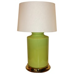 Modern Green Lamp with Brass Accents